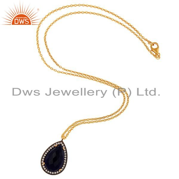 Exporter Blue Corundum 925 Sterling Silver With Gold Plated Gemstone Pendant Necklace