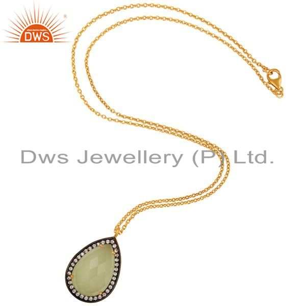 Exporter Gold Plated Sterling Silver Green Chalcedony Gemstone Fashion Pendant Necklace