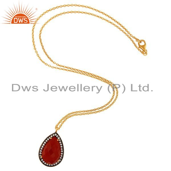 Exporter 18K Gold Plated Sterling Silver Natural Red Onyx Gemstone Drop Pendant With CZ