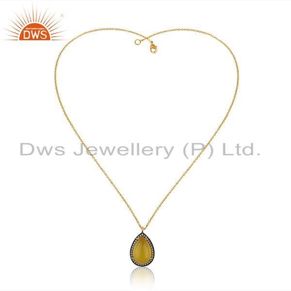 Exporter Gold Plated 925 Silver Yellow Chalcedony Gemstone Chain Pendant Manufacturer
