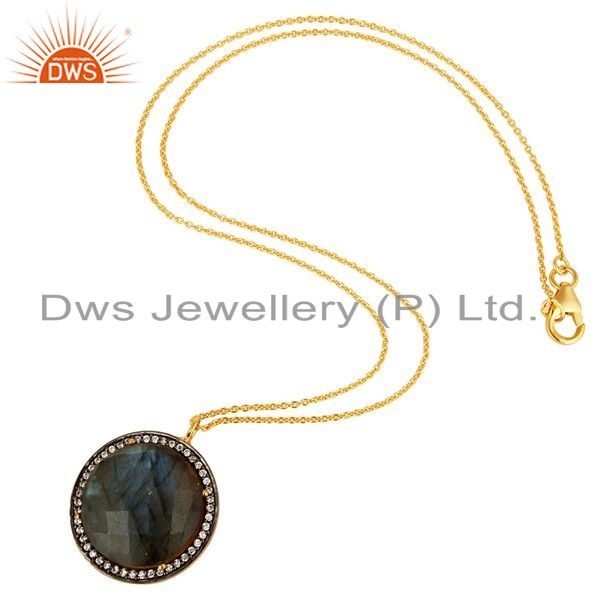 Exporter 18K Gold Plated Sterling Silver Natural labradorite Gemstone Pendant With Chain