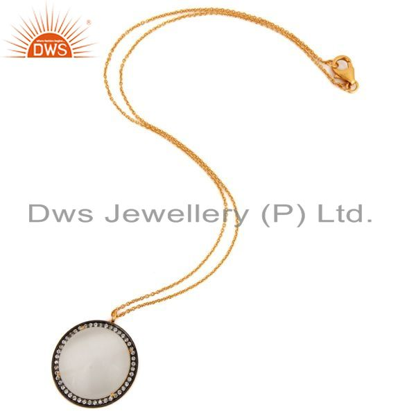 Exporter 925 Sterling Silver White Moonstone 18K Gold Plated Pendant With Chain