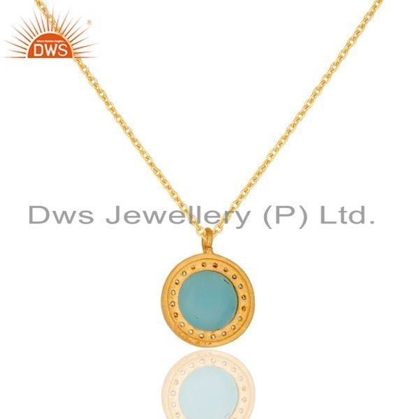 Exporter 18K Gold Plated Sterling Silver Blue Chalcedony And CZ Pendant With 16