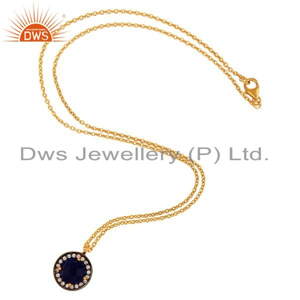 Exporter Amazing Gold Plated Blue Corundum & CZ 925 Silver Gemstone Pendant With Chain