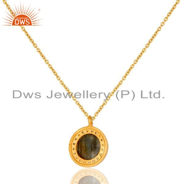 Exporter Labradorite And CZ Yellow Gold Plated Sterling Silver Pendant with 16