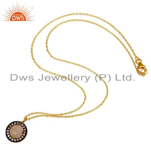 Exporter 22K Gold Plated 925 Sterling Silver Pave CZ & Rose Chalcedony Pendant Chain