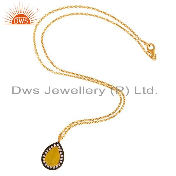 Exporter 925 Sterling Silver Yellow Moonstone Gemstone Pendant Necklace With Gold Plated