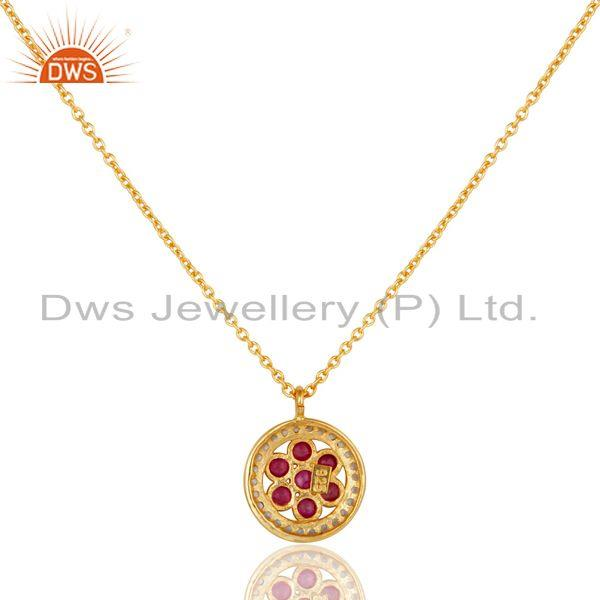 Exporter White Topaz & Ruby Gemstone Oxidized 925 Sterling Silver Pendant Necklace