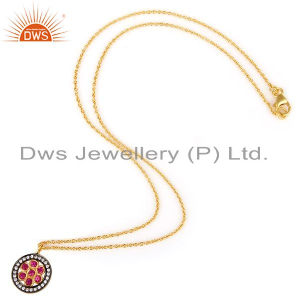 Exporter 18K Yellow Gold Plated Sterling Silver Red Cubic Zirconia Pendant With Chain