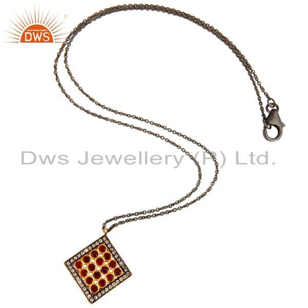 Exporter Garnet And White Topaz Pendant With Chain Made In Rhodium Plated Sterling Silver