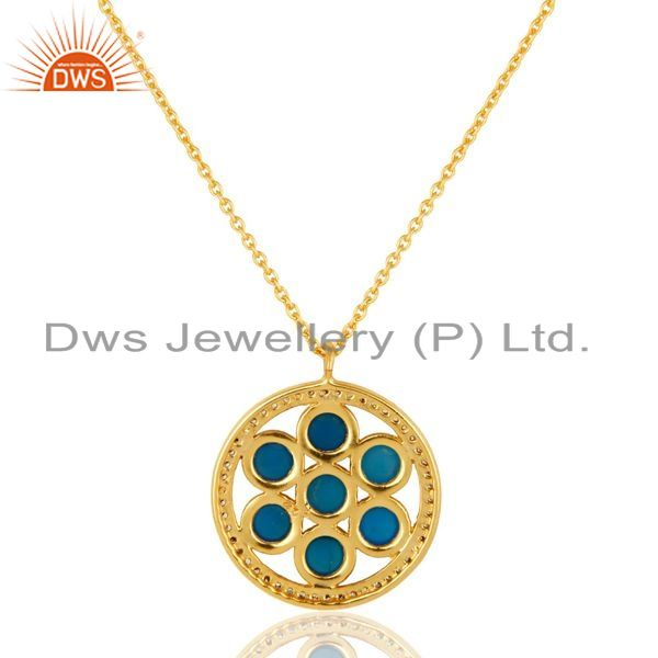 Exporter 18K Gold Plated Sterling Silver Blue Chalcedony And CZ Circle Pendant With Chain