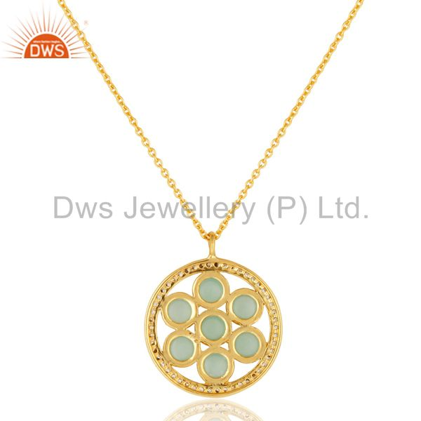 Exporter 18K Gold Plated Sterling Silver Aqua Blue Glass And CZ Fashion Pendant With Chai