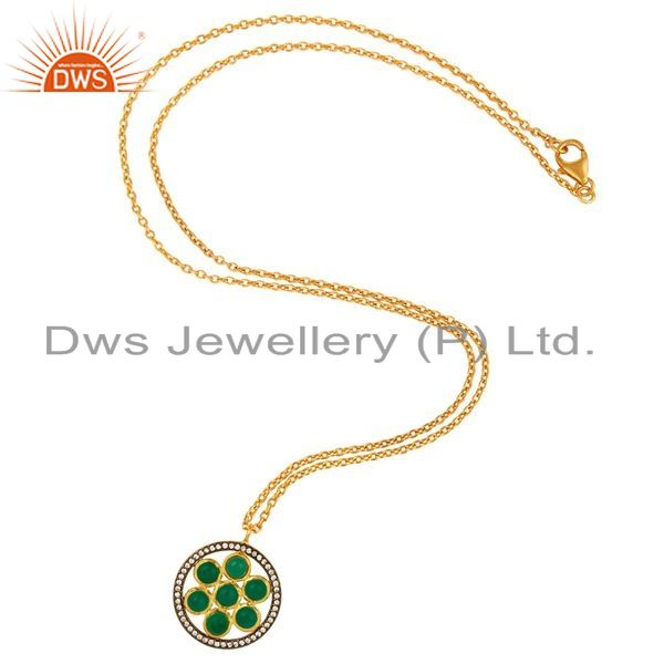 Exporter Green Onyx Sterling Silver Designer Pendant With Gold Plated 16