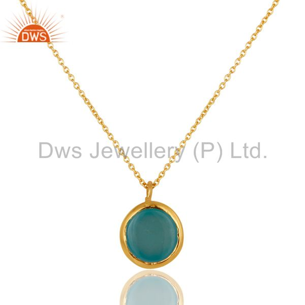 Exporter Designer Blue Chalcedony Sterling Silver Necklace Pendant 18K Yellow Gold Plated