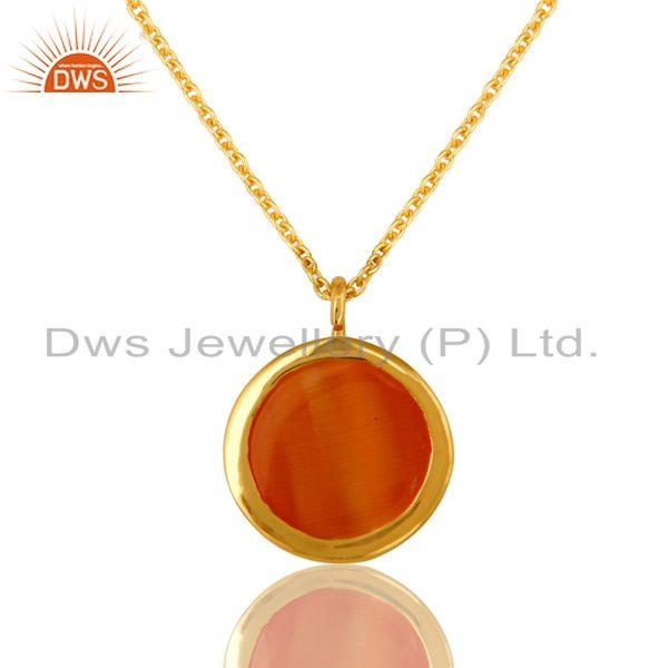 Exporter 18K Gold Plated Sterling Silver Peach Moonstone Gemstone Pendant With Chain