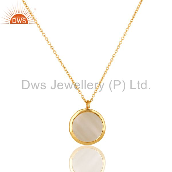 Exporter White Moonstone Sterling Silver Designer Pendant Necklace With Gold Plated
