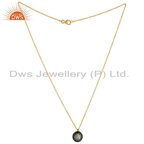 Exporter 18K Gold Plated & Black Oxidized Sterling Silver Rainbow Moonstone Chain Pendant