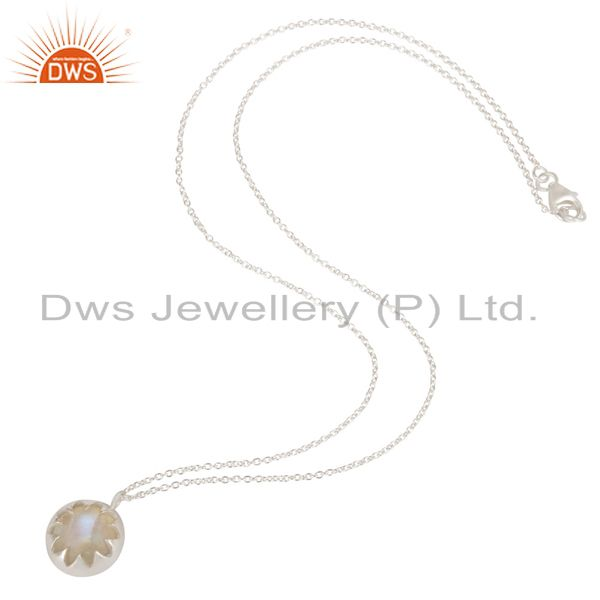 Exporter Indian Handmade Solid 925 Sterling Silver Rainbow Moonstone Chain Pendant