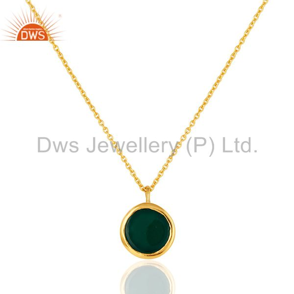 Exporter 14K Gold Over Sterling Silver Green Onyx Gemstone Designer Pendant With Chain