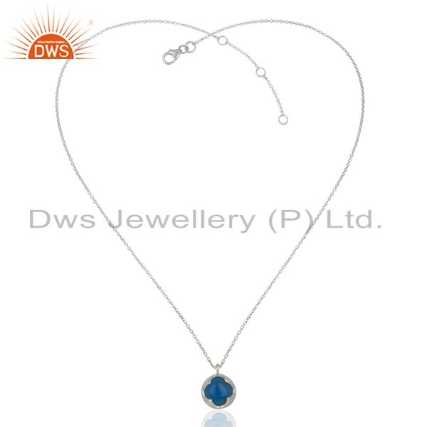 Exporter Blue Chalcodny Gemstone Sterling Silver Chain Pendant Manufacturer