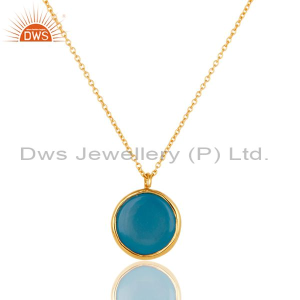 Exporter Dyed Blue Chalcedony Gemstone Sterling Silver Pendant With Chain - Gold Plated