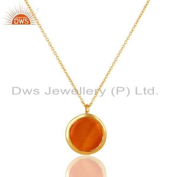 Exporter Peach Moosntone Sterling Silver WIth Yellow Gold Plated Pendant With Chain