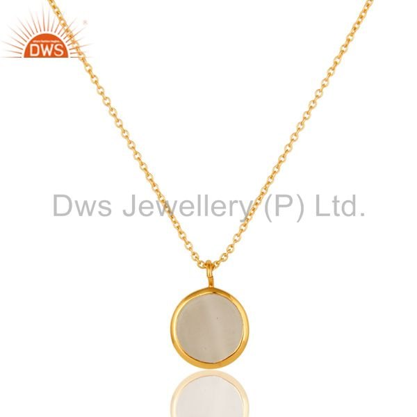 Exporter White Moonstone Gemstone Designer Pendant in 18K GOld Over Sterling Silver