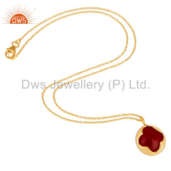 Exporter 18K Yellow Gold Plated Sterling Silver Red Aventurine Designer Pendant Necklace