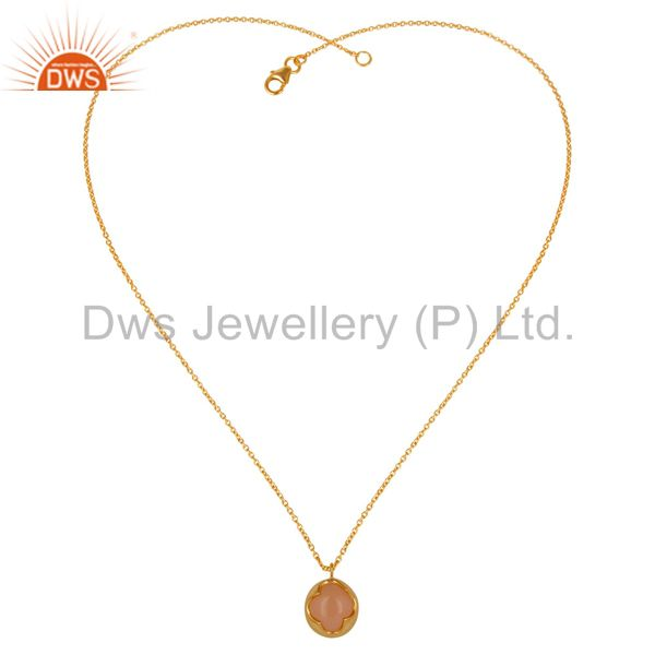 Exporter 18K Yellow Gold Plated Sterling Silver Rose Chalcedony Designer Chain Pendant