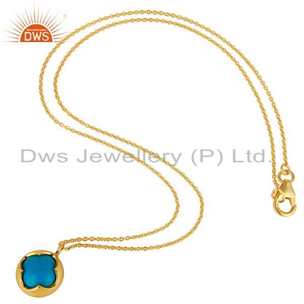 Exporter 14K Gold Plated Sterling Silver Blue Turquoise Designer Pendant With Chain