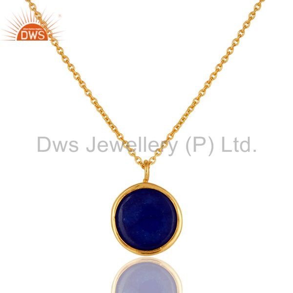 Exporter 18K Yellow Gold Plated Sterling Silver Blue Aventurine Designer Pendant Necklace
