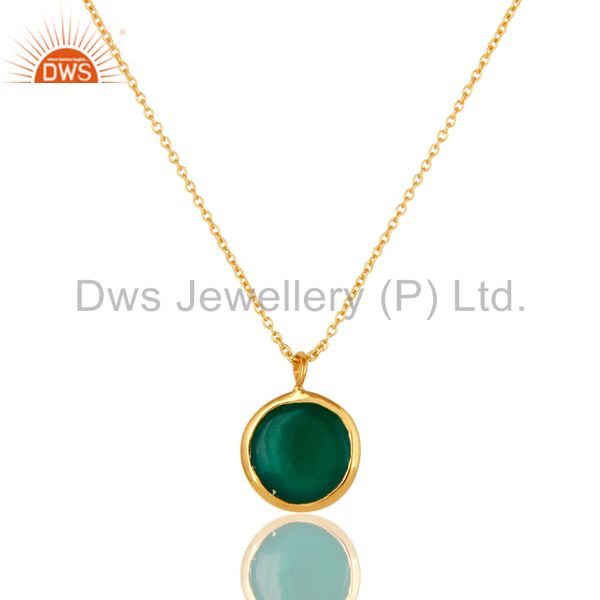 Exporter 18K Yellow Gold Over Sterling Silver Green Onyx Designer Pendant