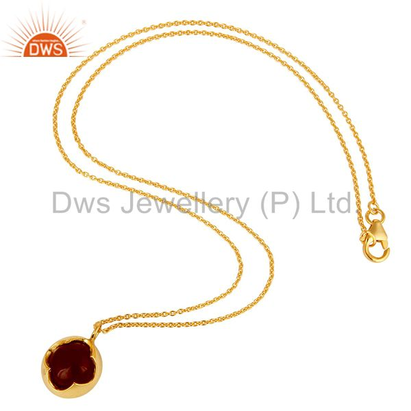 Exporter Natural Red Onyx Sterling Silver Designer Pendant Necklace - Yellow Gold Plated