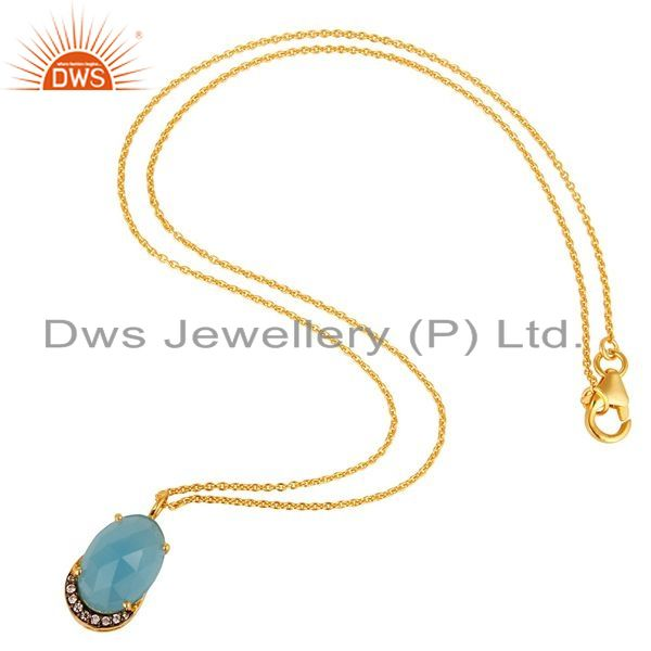 Exporter 14K Gold Plated Sterling Silver Blue Chalcedony Designer Pendant With Chain