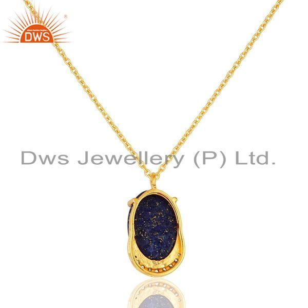 Exporter 18K Yellow Gold Plated Sterling Silver Lapis Lazuli And CZ Pendant With Chain