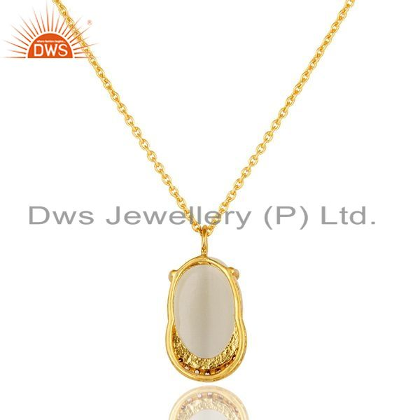Exporter 14K Gold Plated Sterling Silver Prong Set White Moonstone And CZ Pendant Chain