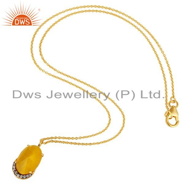 Exporter 14K Gold Plated Sterling Silver Yellow Moonstone Designer Pendant With Chain