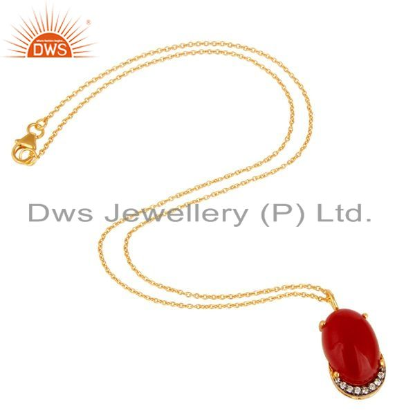 Exporter 18K Yellow Gold Plated Sterling Silver Red Aventurine And CZ Pendant With Chain