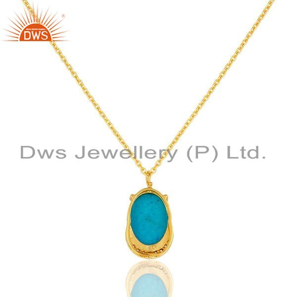 Exporter Turquoise & Cubic Zirconia Designer Pendant Made In 18K Gold On Sterling Silver