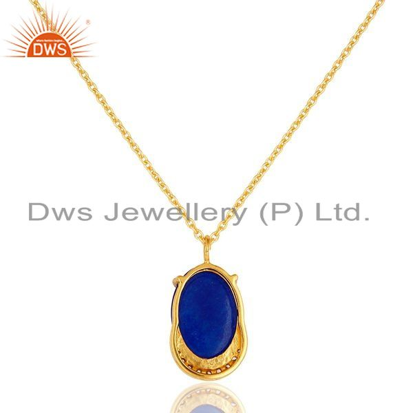 Exporter 18K Gold Plated Sterling Silver Blue Aventurine And CZ Pendant Necklace