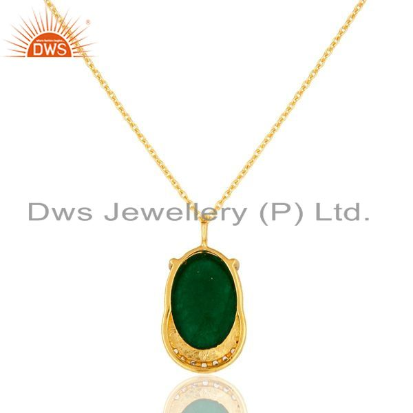 Exporter Prong Set Green Aventurine & CZ 18K Gold Plated Sterling Silver Pendant Necklace