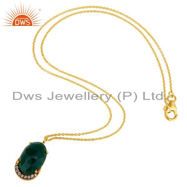 Exporter 14K Gold Plated Sterling Silver Green Onyx Designer Pendant With Chain