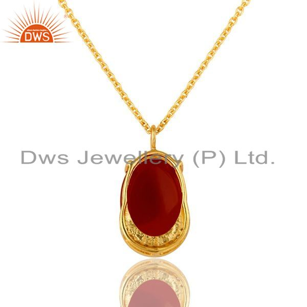 Exporter 18K Gold Over Sterling Silver CZ & Red Onyx Gemstone Pendant With Chain