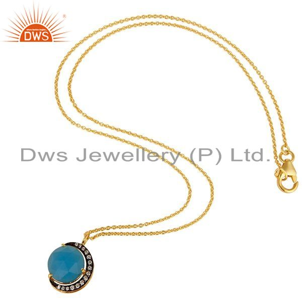 Exporter 14K Gold Plated Sterling Silver Blue Chalcedony Half Moon Pendant With Chain