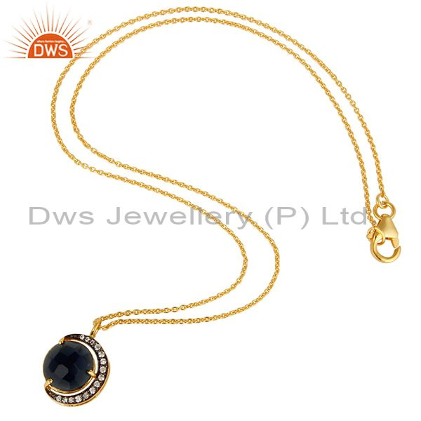 Exporter 14K Gold Plated Sterling Silver Blue Corundum Half Moon Pendant With Chain