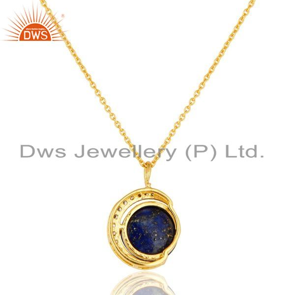 Exporter Lapis Lazuli And CZ 18K Gold Over Sterling Silver Crescent Moon Pendant Chain