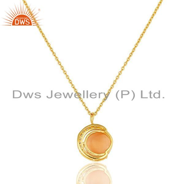 Exporter Gold Plated Silver Peach Moonstone And CZ Half Moon Design Pendant With Chain