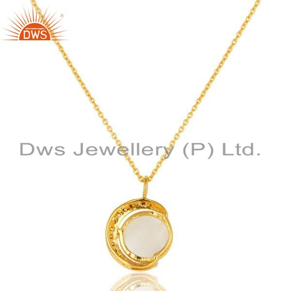 Exporter White Moonstone And CZ 18K Gold on Sterling Silver Crescent Moon Pendant Chain