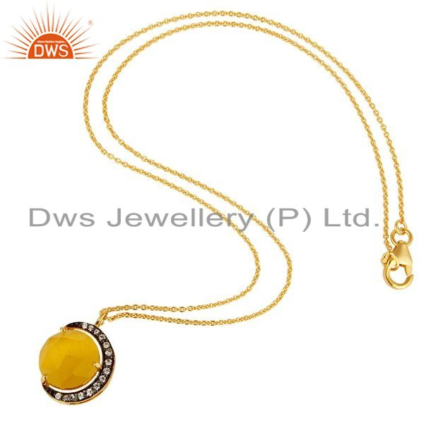 Exporter 14K Gold Plated Sterling Silver Yellow Moonstone Half Moon Pendant With Chain