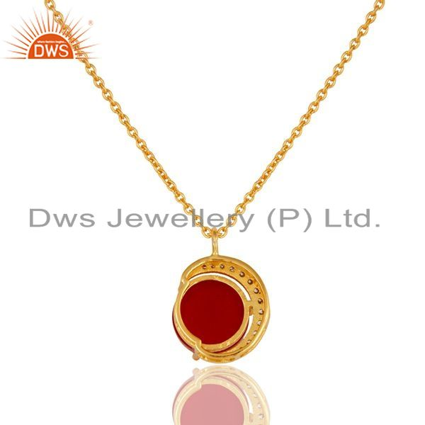 Exporter 22K Yellow Gold Plated Sterling Silver Red Aventurine And CZ Pendant Necklace